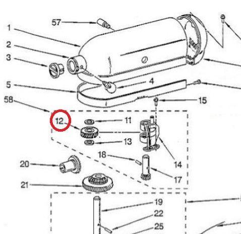 Rueda arrastre engranaje KitchenAid robot de cocina