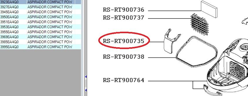 Soporte bolsa aspirador Rowenta Compact Power