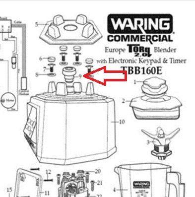 Acoplamiento motor batidora Waring series TBB